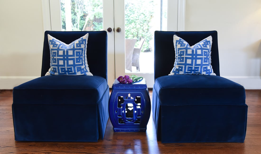 velvet blue chairs