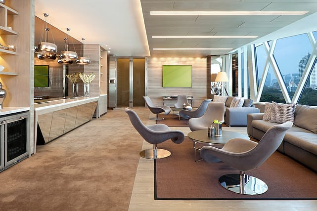 living room with a beautiful mirror bar