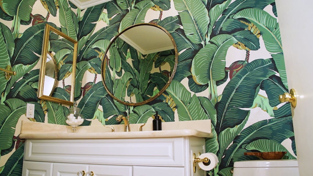 interior design ideas with green leaf wallpaper