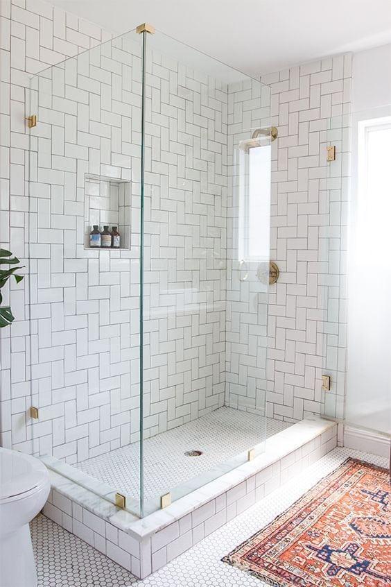 Bathroom With White Subway Tiles
