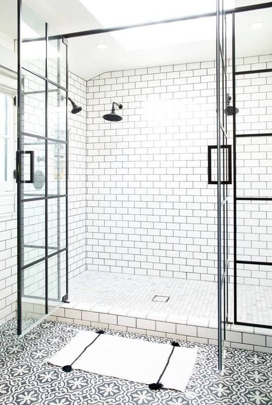 white subway tile vertical and off center