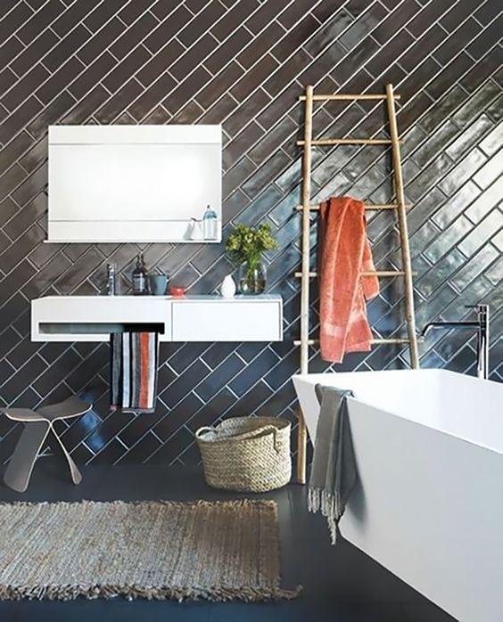 diagonal subway tile design for a bathroom