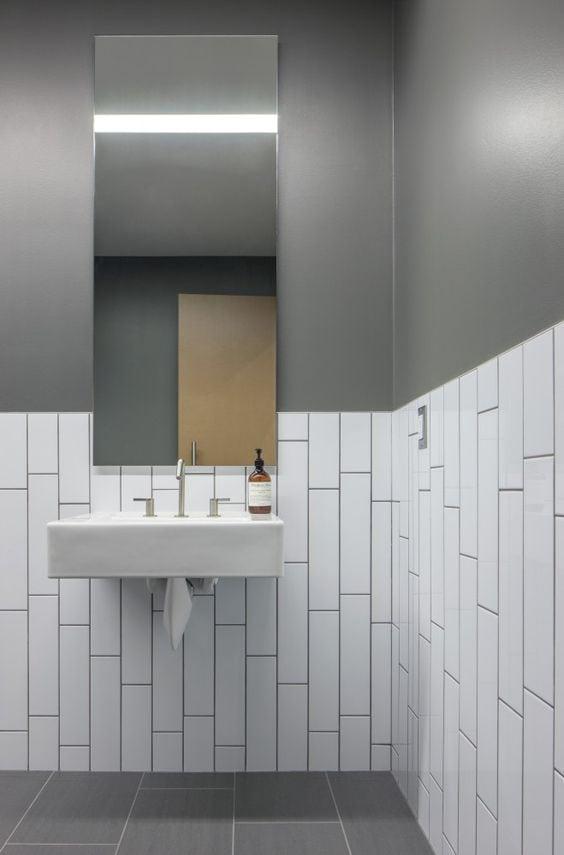 unique subway tile design for a bathroom