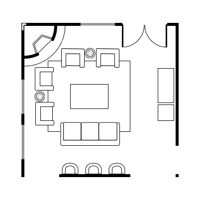 Floor plan layout for entertainment