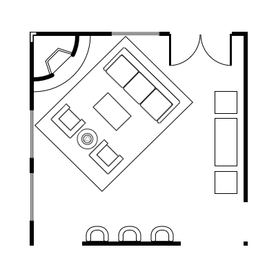 Floor plan layout with corner fireplace