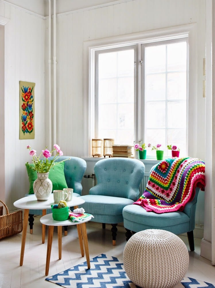 9. The Playful Balance Layout Idea for a square living room