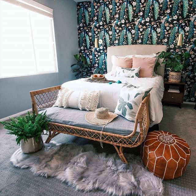wallpaper behind the bed ideas accent wall with wallpaper