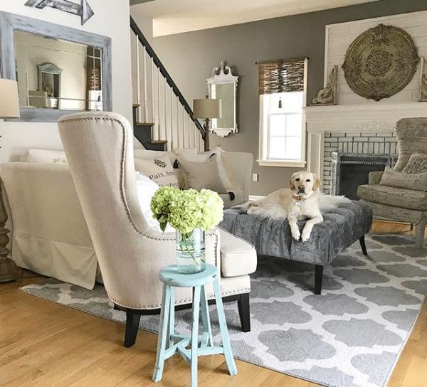 Farmhouse decor living room ideas with fireplace and sofa