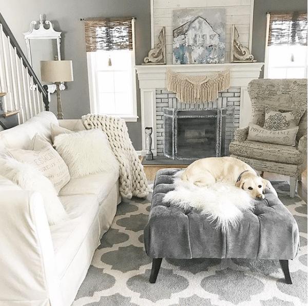 Farmhouse decor interior design ideas with grey and white color scheme