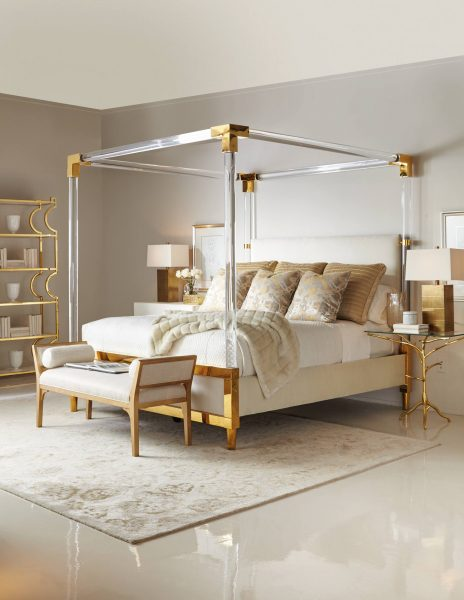 gold canopy bed, acrylic canopy bed