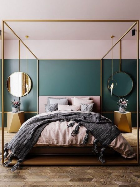 canopy bed, modern canopy bed, gold canopy bed