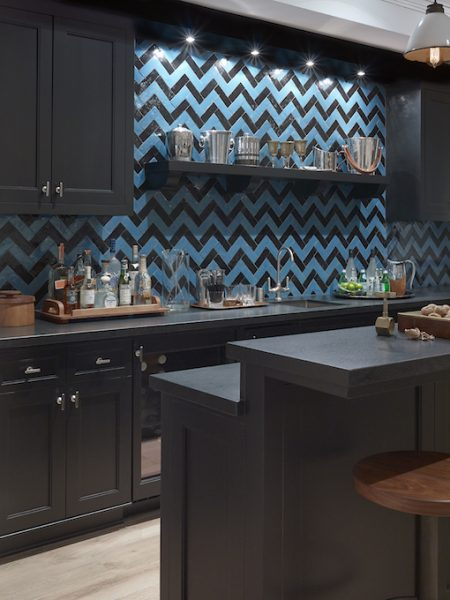 blue home bar, chevron backsplash