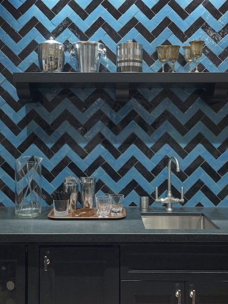 blue home bar, blue kitchen, blue cabinetry, chevron backsplash