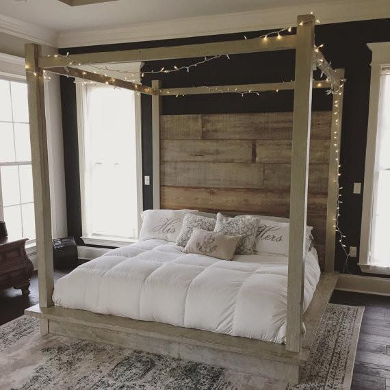 canopy bed, fairy lights, gray beige canopy bed