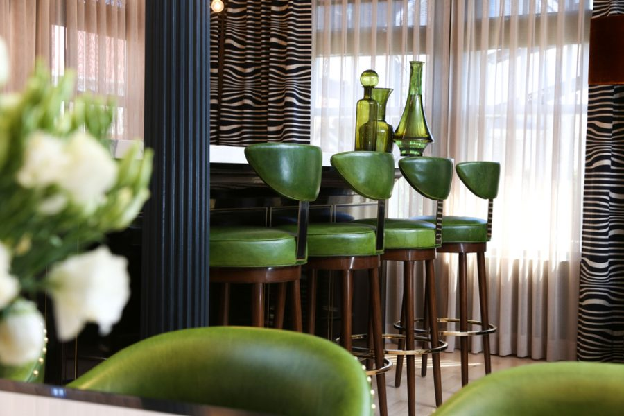 home bar, luxurious home bar, green living room, green dining room