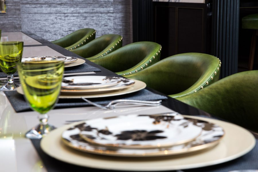 green dining chairs, home bar
