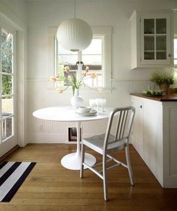 emeco navy chair, tulip tables