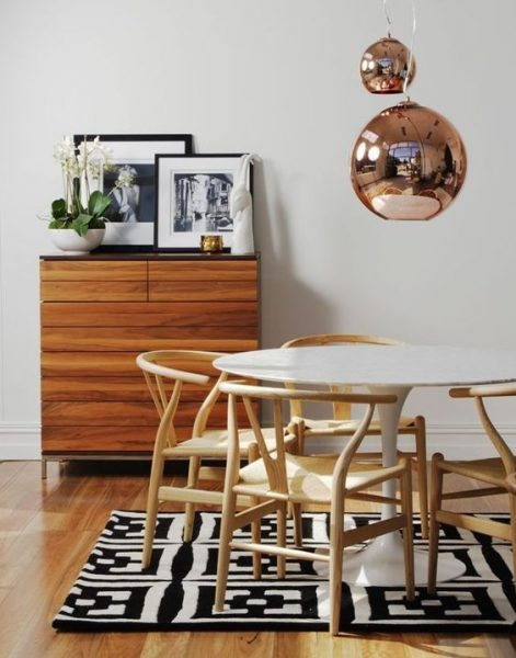 wishbone chair, tulip table