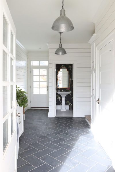 slate herringbone mudroom
