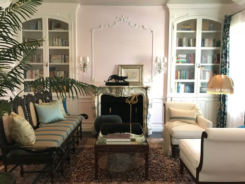 floral, fireplace, living room design