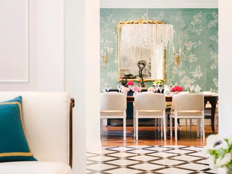 floral wallpaper, dining room