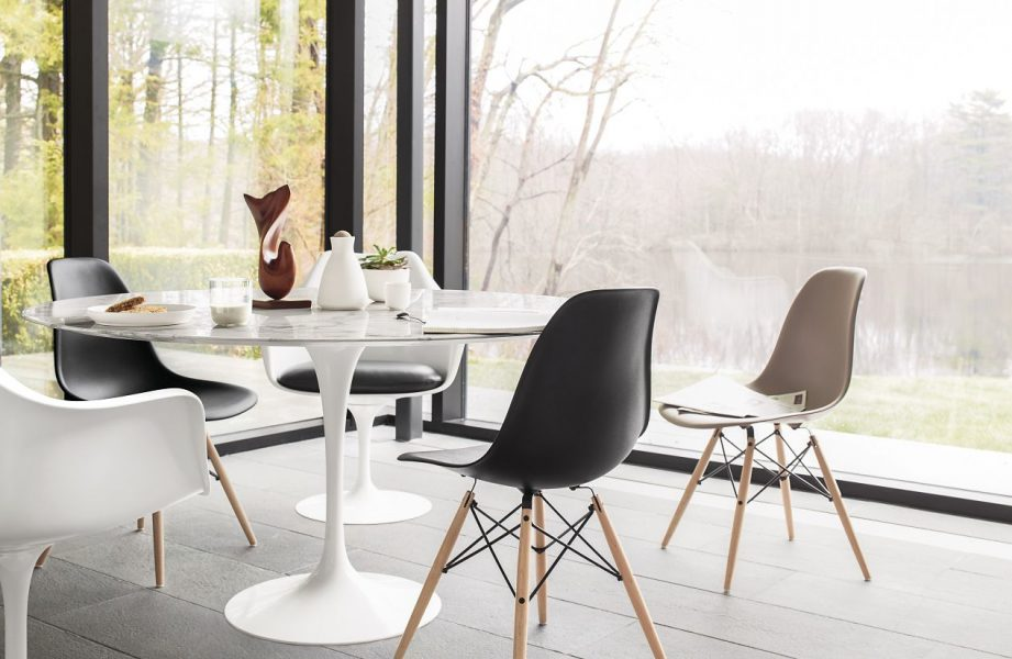 tulip table, tulip chairs, eames chair, black eames chair, pink eames chair, Saarinen Round Dining Table