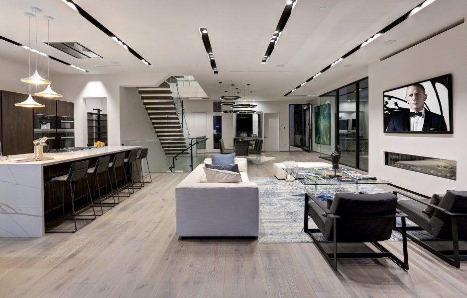 modern living room, modern dining room, modern kitchen