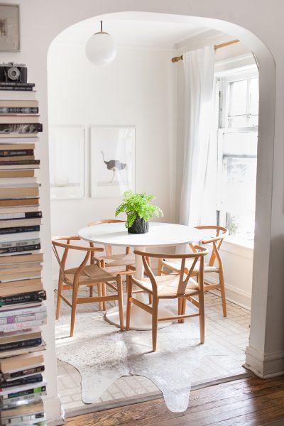 tulip table, wishbone chair