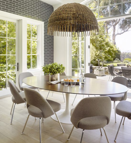cordelia chair, tulip table with wood top