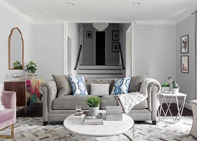 light gray velvet tufted sofa