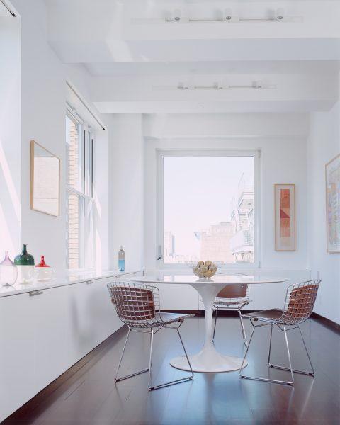 bertoia chair, tulip table, saarinen