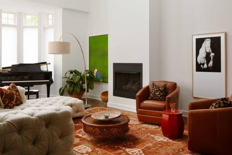 leather tufted sofa interior design