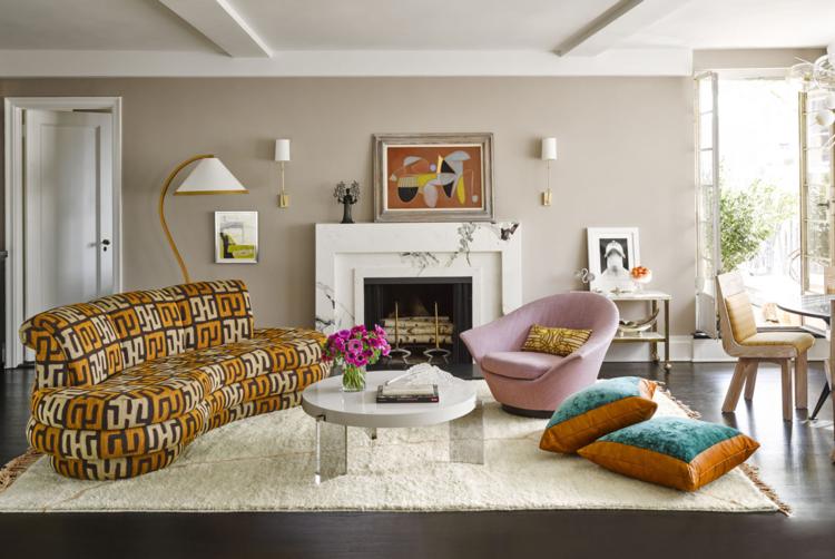 curved sofa, print sofa