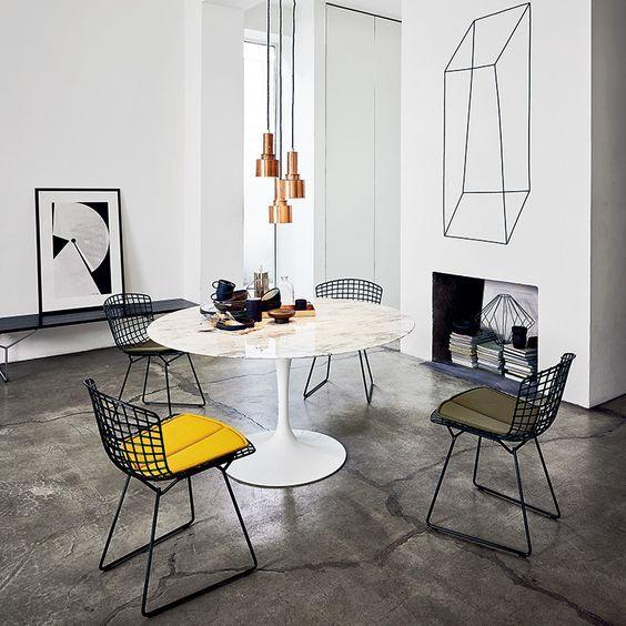 marble tulip table, eero saarinen, bertoia chairs