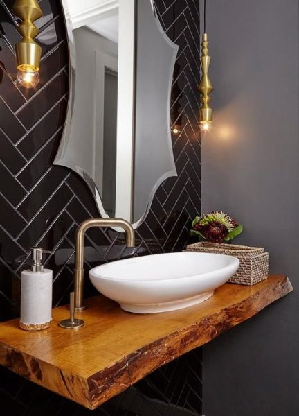 grout, bathroom grout, bathroom tile grout, floating vanity, live edge vanity, live edge bathroom vanity, herringbone tile, black herringbone tile, vessel sink
