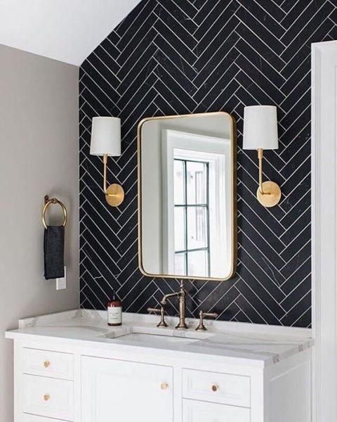 grout, bathroom grout, bathroom tile grout, bathroom tile, herringbone tile, black herringbone tile