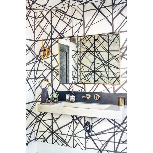 abstract wallpaper, chic wallpaper, bold wallpaper, bathroom wallpaper, floating vanity, floating bathroom vanity