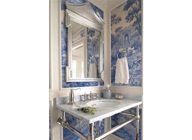 bathroom wallpaper, metal washstand, mural wallpaper