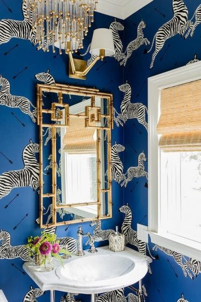 bathroom wallpaper, zebra wallpaper, pedestal sink, bathroom remodel