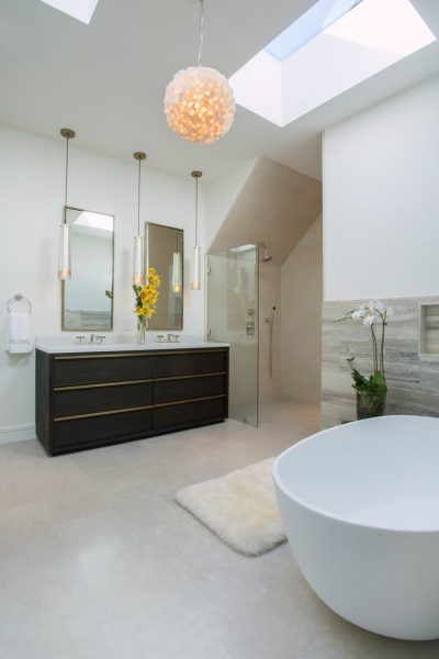 bathroom remodel, bathroom vanity, free standing tub, bathroom mirror