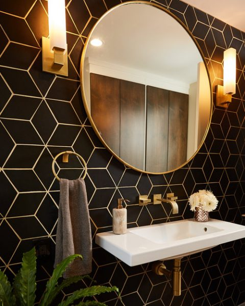 bathroom remodel, bathroom tile, bathroom backsplash, black tile, black rhombus tile
