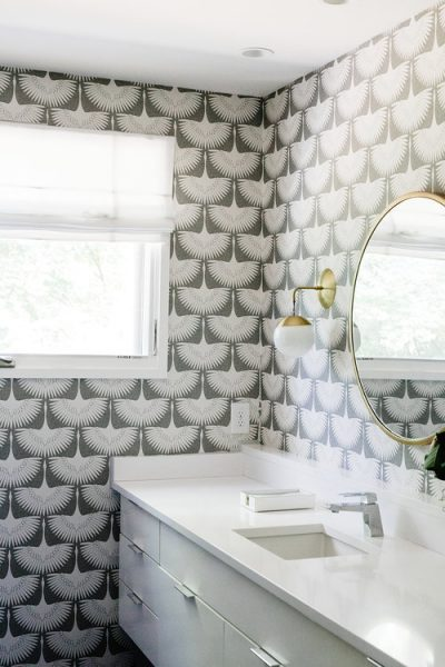 bathroom remodel, bird wallpaper, feather wallpaper, bird flock wallpaper