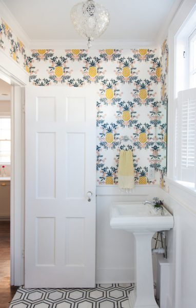 pineapple wallpaper, bathroom wallpaper, pedestal sink, bathroom remodel