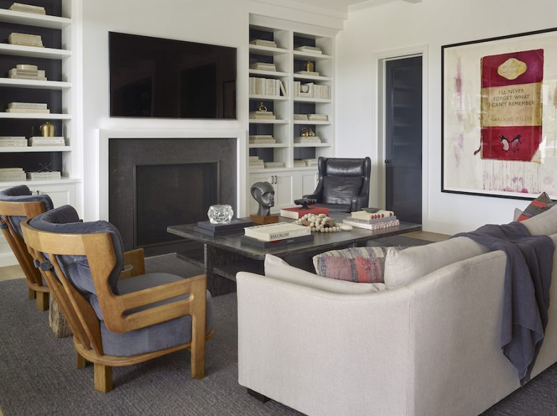 built in bookshelves, modern living room