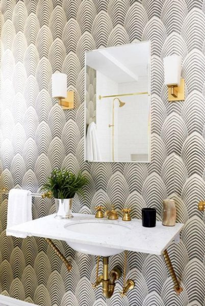 bathroom wallpaper, floating bathroom vanity, floating sink, floating vanity, exposed pipes, gold bathroom hardware