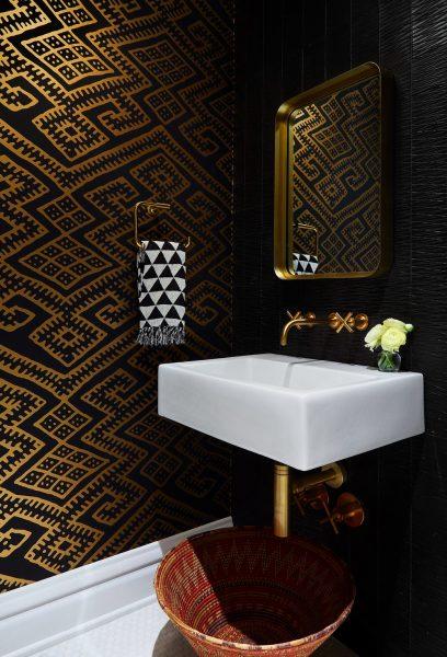 dark wallpaper, black and gold wallpaper, gold wallpaper, bathroom wallpaper, floating sink, floating bathroom sink, floating bathroom vanity, gold bathroom hardware