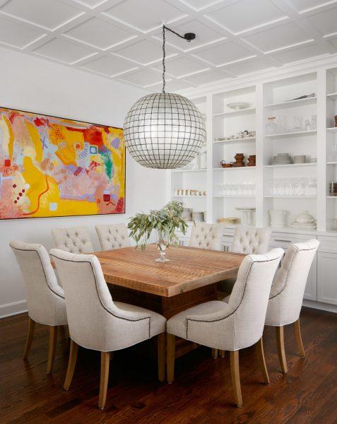 bookshelves, built in bookshelves, built ins, dining room, white dining room, traditional dining room