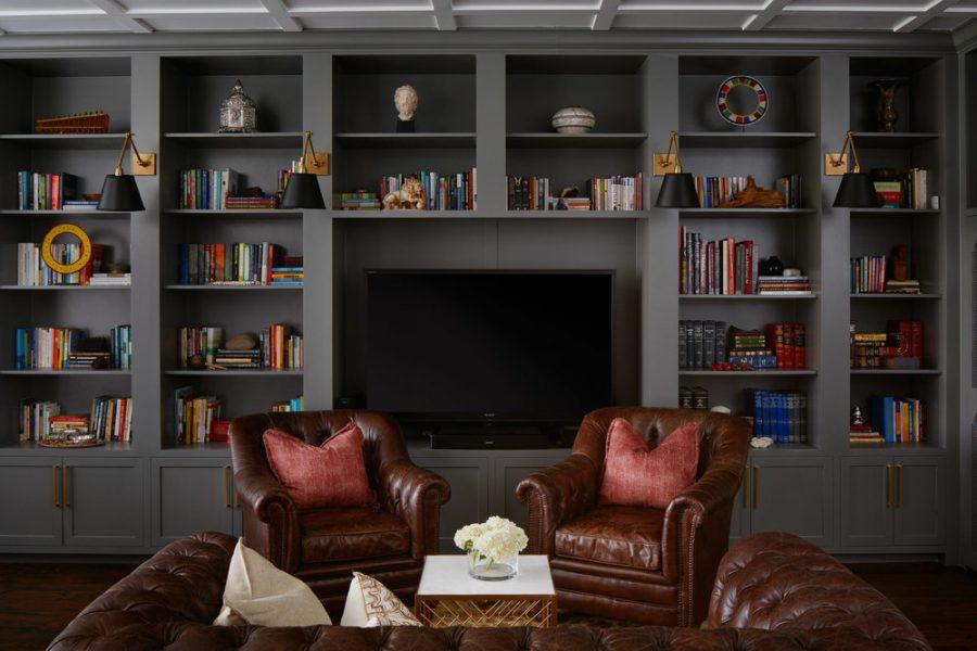 home library, built in bookshelves