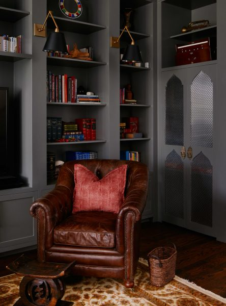 leather armchair, accent lights, accent sconces