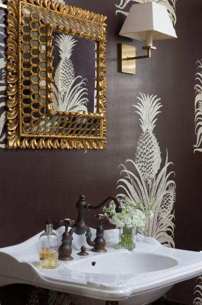 pineapple wallpaper, pedestal sink, bathroom remodel